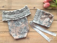 Newborn Girl Prop Outfit - Rose Pink and Gray Floral Romper & Bonnet Photo Outfit - Ready to Ship by wrenandwillowdesigns on Etsy