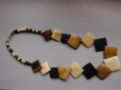 Vintage Neutral Colours Square Bead Bone Necklace by WhimsicalFig on Etsy