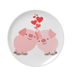 Cute Cartoon Pigs in Love Plate from Zazzle.com...i think this is so cute haha