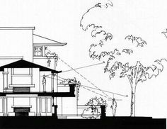 "Robie House: This Building Section shows how Wright achieved privacy in a window-lined home abutting the street. This play on private spaces was requested by the client, who insisted on the idea of ""seeing his neighbors without being seen."""
