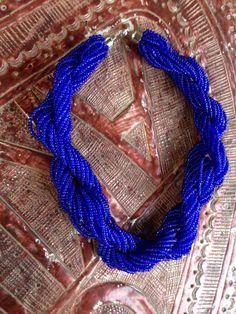 Cobalt Blue woven trade head necklace
