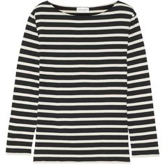 Saint Laurent Striped cotton-jersey top (£250) ❤ liked on Polyvore featuring tops, cotton jersey, stripe top and striped top