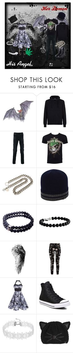 """Couple's Outfit - Demon and Angel - Stoner"" by totallyboi ❤ liked on Polyvore featuring STONE ISLAND, Neil Barrett, Alexander McQueen, Ben Sherman, Nialaya, Stephen Webster, Converse, Karl Lagerfeld, Dark and Punk"
