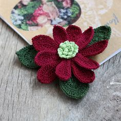 Wine red poinsettia brooch Christmas Gift for mother, grandmother, sister Big crochet brooch Fiber jewelry Burgundy