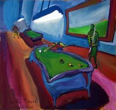 """Noche de pool con amigos "",acrylic on canvas ,42 x 43 cm year 2000. Realistic and figurative painting for sale"