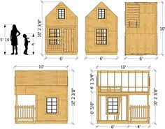 """""""Green"""" Playhouse Plan for Kids – Paul's Playhouses Kids Playhouse Plans, Backyard Playhouse, Build A Playhouse, Wooden Playhouse, Outdoor Playhouses, Childrens Playhouse, Playhouse Kits, Pallet Playhouse, Building A Shed"""