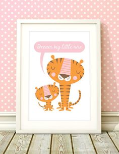 Girls nursery tiger art Giclee print Dream Big by BubbleGumYears, £10.49