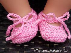 Patroon Ballerina schoentjes Baby Born Garen: Soft (Zeeman) of Catania Haaknaald 3 Haak 7 lossen. 1 Begin in de 3e...