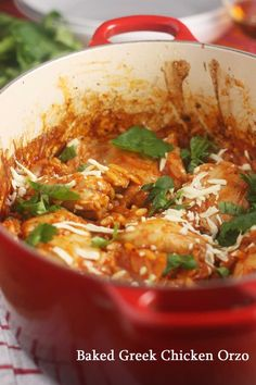 Chicken and orzo pasta baked in spices and tomato sauce and topped with cheese - a simple & tasty mid-week meal.