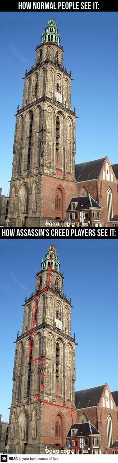 Assassin's Creed Perspective // Or, 'Why does that building look so familiar? Oh, yeah! I climbed it! Skyrim, Deutsche Girls, Assasins Cred, Assassins Creed Funny, Ps4, Playstation, Memes Lol, Sherlock, Gamers