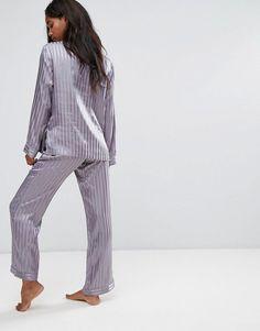 Boux Avenue Stripe Satin Long Pajama Set c4f5d6ed0