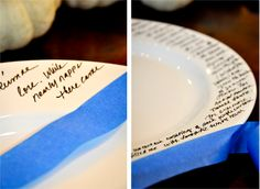 Valentines day idea, write a love poem on dinner plates and make a special dinner
