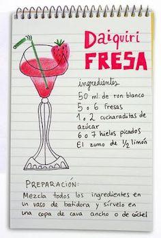 ^^ Daiquiri de fresa: ron, fresas y limón. #strawberry