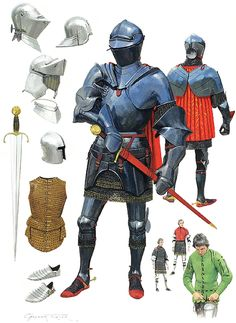 Century Arms & Armor Illustrated by Graham Turner English Medieval Knight Armadura Medieval, Medieval Knight, Medieval Armor, Armor Clothing, Templer, Landsknecht, Military Armor, Late Middle Ages, Knight Armor