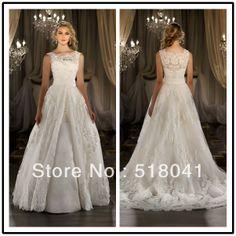 New arrival elegent boat neckline A line floor length custom make TM1139 detachable skirt wedding dresses vestido de novia sexi-in Wedding D...