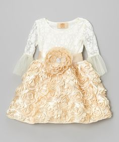 Take a look at this Mia Belle Baby Crème Lace & Beige Rosette Belted Dress - Toddler & Girls on zulily today!