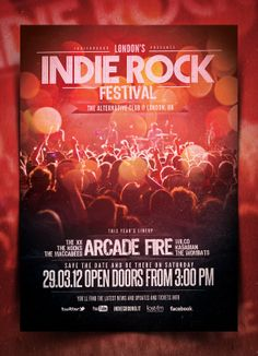 """""""Indie Flyer/Poster Vol. 14"""". This photoshop flyer template was designed to promote an Indie Rock / Alternative / Grunge / Underground / Urban / New Wave / Electro music event, such as a gig, concert, festival, party or weekly event in a music club and other kind of special evenings. This poster can also be used for a band's new album promotion and other advertising purposes."""
