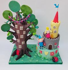 I become this cake for a friend's daughter who loves ben and holly. The figures are made out of flower paste, and the elf tree is made from RKT, modelling chocolate and fondant. The castle & tower are all cake. I loved making this cake, it was. Ben And Holly Party Ideas, Ben And Holly Cake, Ben E Holly, Castle Birthday Cakes, Birthday Cake Girls, Birthday Cake Toppers, Castle Cakes, 2nd Birthday, Holly Tree