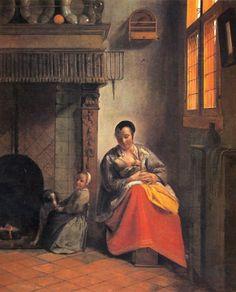 Mère allaitant Pieter de Hooch, 1658-60 huile sur toile, 67,8 × 65,6 cm M. H. de Young Memorial Museum, San Francisco, Etats-Unis d'Amérique #allaitement