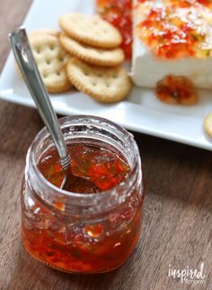 Red Pepper Jelly how to make red pepper jelly; plus easy appetizer recipe!, Red Pepper Jelly how to make red pepper jelly; plus easy appet. Jam Recipes, Canning Recipes, Yummy Recipes, Canning Soup, Chutney Recipes, Lunch Recipes, Keto Recipes, Easy Appetizer Recipes, Sauces