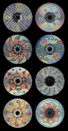Recycling CDs with Creative Designs by HQcreations, via Flickr #recycling #recycledart #puffypaint #handdrawn by robyn