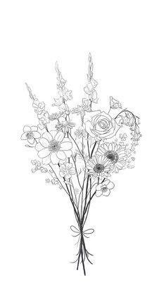 Bouquet Tattoo Design by Elizabeth Lowe – Tattoo Sketches & Tattoo Drawings Tatoo Flowers, Flower Bouquet Drawing, Flower Tattoos, Drawing Flowers, Wildflower Drawing, Wildflower Tattoo, Art Floral, Des Fleurs Pour Algernon, Tattoo Drawings