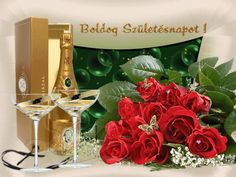 Boldog szülinapot Wine Bottle Images, Happy Cake Day, Name Day, Alcoholic Drinks, Happy Birthday, Presents, Gift Wrapping, Table Decorations, Cards