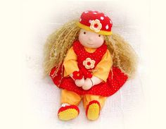 waldorf doll Stella in colorful red dress wich by LaFiabaRussa, €140.00