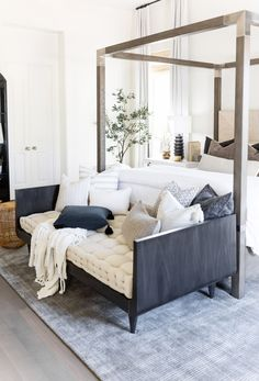 Cozy Transitional/ Traditional Neutral Master Bedroom Interior Design Ideas With Canopy Bed, Gray And White End Of The Bed Bench Daybed For Extra Seating And Neutral Gray And White Color Scheme Master Bedroom Interior, Home Interior, Home Decor Bedroom, Bedroom Office, Bedroom Modern, Master Bedrooms, Bench For Bedroom, Bedroom Wall, Seating In Bedroom