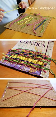 Yarn + Sandpaper + a Cereal Box = A Fabulous 3-in-1 Quiet Time Activity. Great to throw in purse/diaper bag or leave in the car for times at restaurants, waiting room, or appointments.