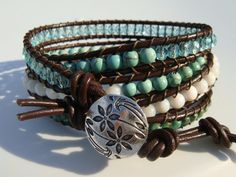 Turquoise and Shell Beaded Leather Wrap Bracelet by tinacdesigns, $45.00
