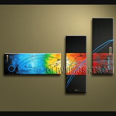 Astonishing Modern Abstract Painting Oil Painting On Canvas Panels Gallery Stretched Abstract. This 3 panels canvas wall art is hand painted by V.Chua, instock - $135. To see more, visit OilPaintingShops.com