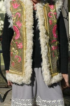 RARE Heavily Embroidered Fur Lined 60s Hippie Vest | eBay