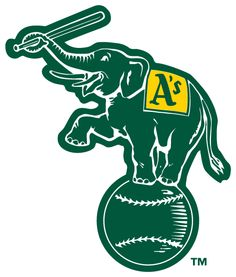 Oakland Athletics Alternate Logo (1988) - Elephant holding a bat, standing on a baseball in forest green