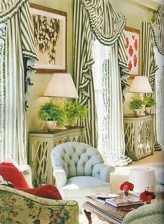 bunting-fan valance & striped panels