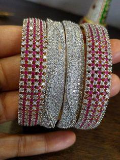 Indian Jewelry-Indian Wedding Jewelry-Jewelry-Indian Diamond gm gold jewelry-Bangles with American Diamonds and Ruby Stones – Ruby Jewelry Dainty Gold Jewelry, Ruby Jewelry, Diamond Jewelry, Jewlery, Jewelry Sets, Jewelry Accessories, Jewelry Design, Indian Wedding Jewelry, Indian Jewelry