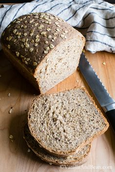 Gorgeous Multigrain Bread with quinoa, oats, flax and sunflower seeds from @vanillaandbean.