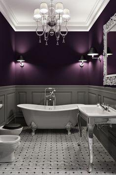 Gothic Bathroom, Grey Bathrooms, Small Bathroom, Dark Purple Walls, Purple Gray, Dark Purple Bedrooms, Purple Wall Paint, Grey Paint, Purple Master Bedroom