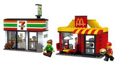 LEGO Ideas - Mini Shop Series. 7 Eleven convenience store and McDonald's restaurant