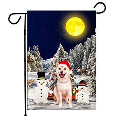 PrintYmotion Shiba Inu Dog with Snowman Christmas Holidays Garden Flag, Dog Lovers Gift (12 x 18 Inches) PrintYmotion #Shiba Inu #Dog Lovers gift #Christmas Gift #Christmas Flag