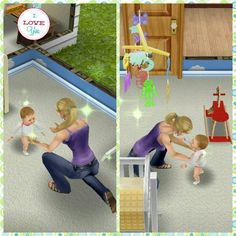 "♢The Sims Freeplay.                                     Mommy Sim Emma, helping baby Nathan  practice ""how to- walk""! Strengthening those drum sticks!                                                         #TheSimsFreeplay #Mommasboy #Babysim #Motherduty #BabySteps"