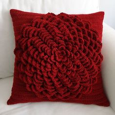 Crochet Flower Pillow Cover by Rachel Choi. Pattern can be purchased at Ravelry.