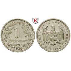 Drittes Reich, 1 Reichsmark 1936, F, ss+, J. 354: Nickel-1 Reichsmark 1936 F. J. 354; sehr schön +, Rdf. 40,00€ #coins