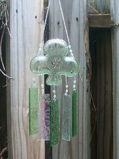 Chantilly Green Tiara Glass Club Nut Dish, Ashtray, Upcycled into a Windchime with Stained Glass Chimes