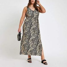5ae15ae2e81 Plus black zebra print maxi dress - Maxi Dresses - Dresses - women