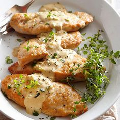 A trifecta of whipping cream, white wine, and Dijon mustard forms a sauce with full-bodied flavor for these skillet-cooked chicken breasts. Elegant enough for company, the healthy chicken recipe tastes great alone or on a bed of wild rice.