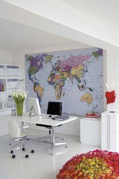 Komar Colorful World Map Wall Mural Wallpaper image 2 *This wallpaper mural is vinyl coated, washable and strippable. Giant World Map, World Map Mural, World Map Decor, World Map Wallpaper, Of Wallpaper, Photo Wallpaper, Wallpaper Paste, Reproductions Murales, Poster Design