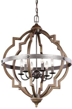 Sea Gull Lighting Socorro Stardust/Cerused Oak Transitional Geometric Pendant Light at Lowe's. The Sea Gull Lighting Socorro six light hall - foyer pendant in Stardust is an ENERGY STAR® qualified lighting fixture that uses fluorescent bulbs to Foyer Chandelier, Sea Gull Lighting, Candle Chandelier, Lantern Lights, Chandelier Shades, Foyer Lighting, Geometric Chandelier, Chandelier Lighting, Ceiling Lights