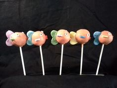 Fish cake pops. Chocolate cake, dipped in melted chocolate.