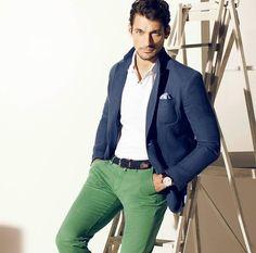 Blue jacket + green trousers